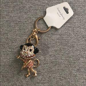 Rhinestone Money Keychain Key Ring - Pink